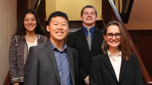 Group photo of four students who earned the Undergraduate Arab Studies Certificate
