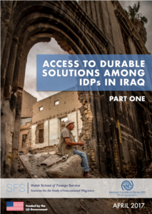 Cover of a report called Access to Durable solutions among Iraqi IDPS