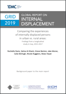 The cover a Global Report on Internal Displacement that says Comapring the experiences of internally displaced persons in urban vs rural areas