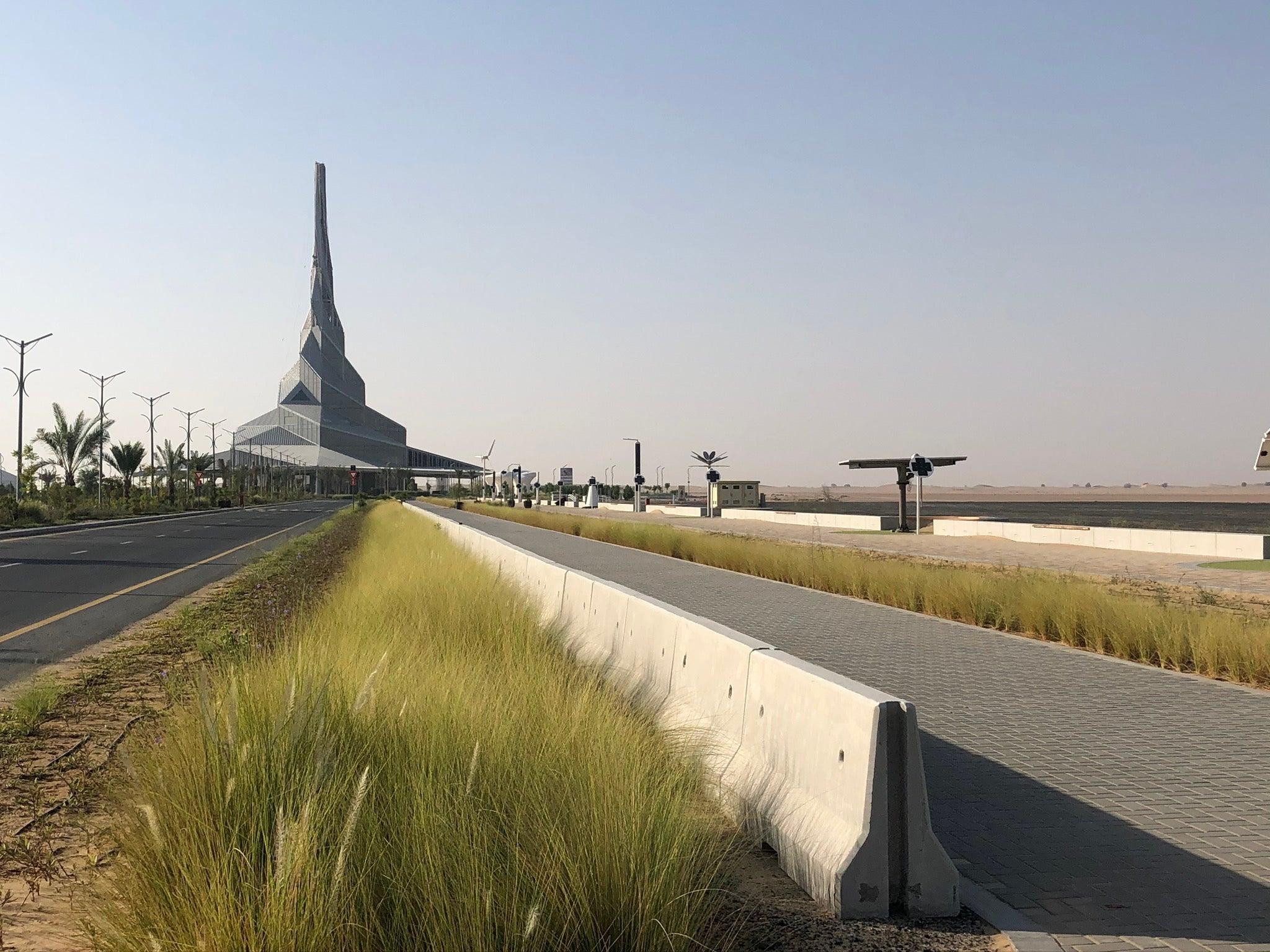 The nearly-completed Innovation Centre at Dubai's Mohammed bin Rashid Al Maktoum Solar Park. The Center will offer educational programming on green energy.