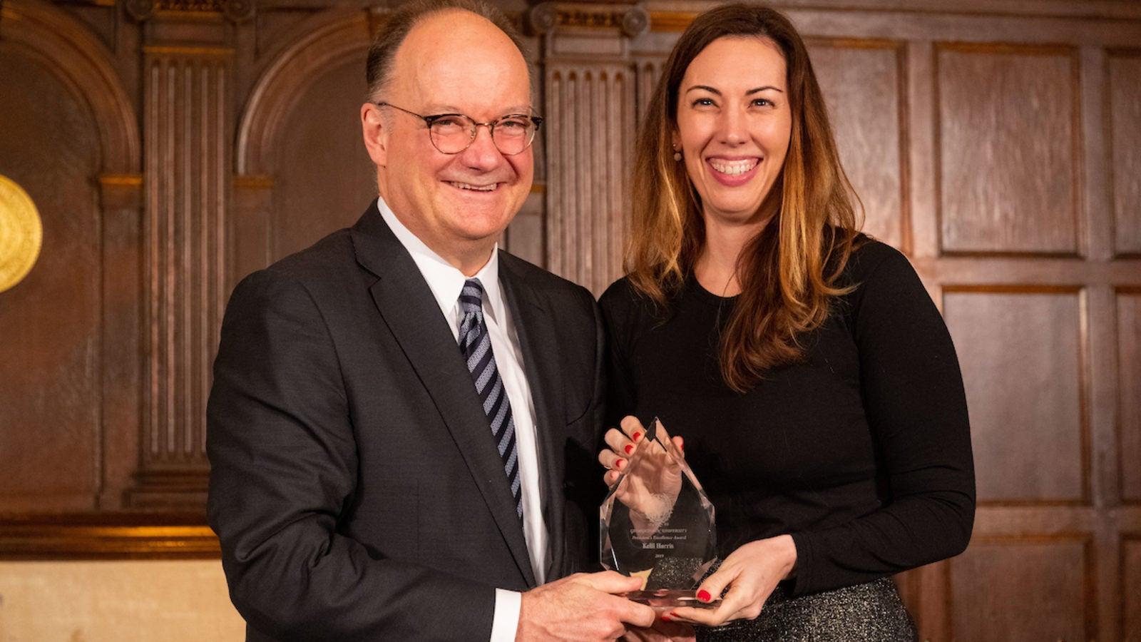 Kelli Harris with GU President John DeGioia