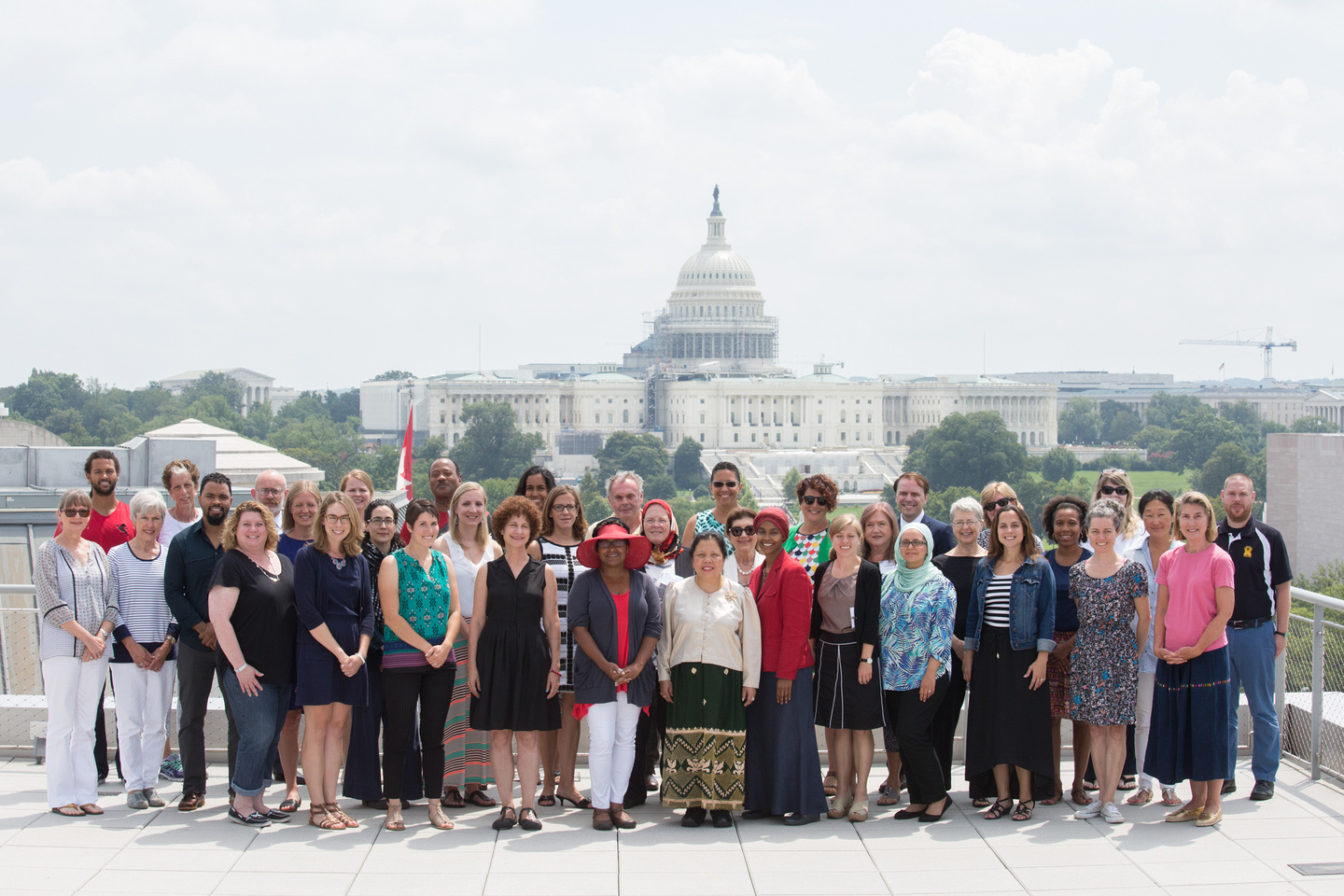 A large group of teachers in front of the U.S. Capitol Building