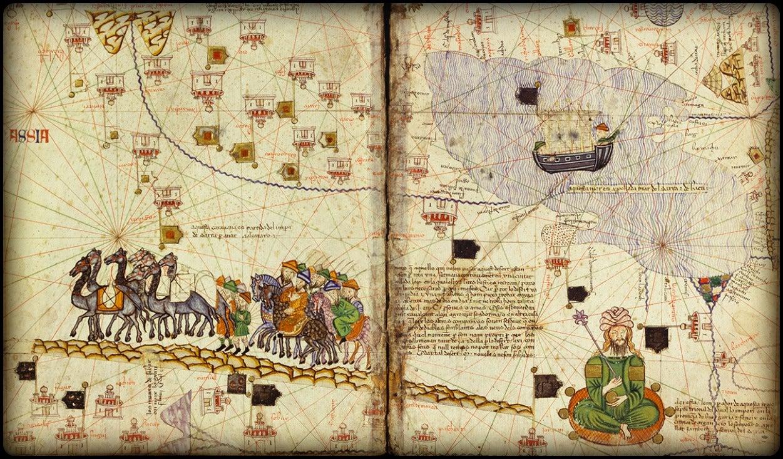 detail of an ancient atlas