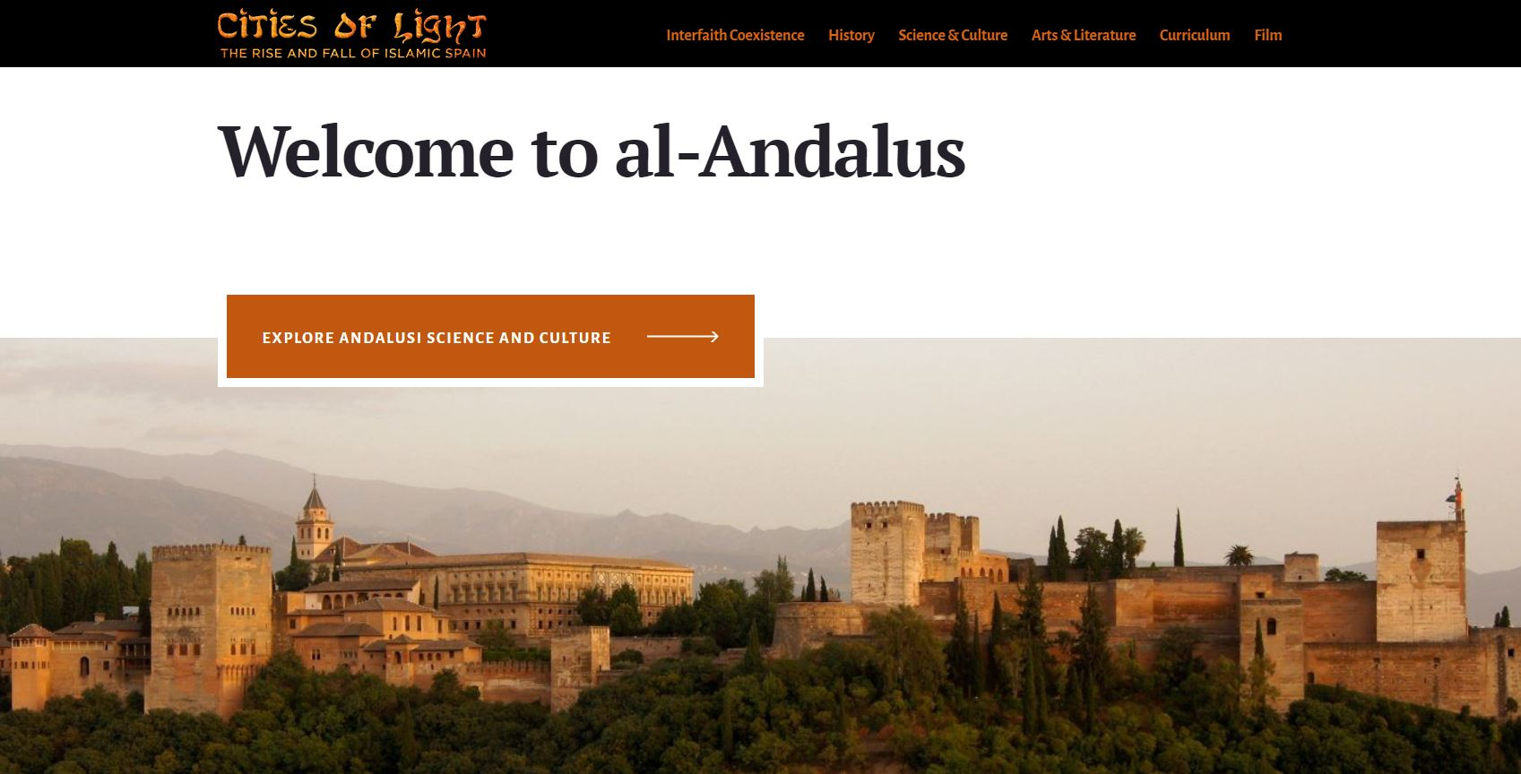 cover image of Islamic Spain website that features a panoramic view of a town in Spain