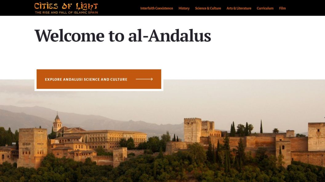 scene from Andalusian spain and cover image of the Islamic Spain website