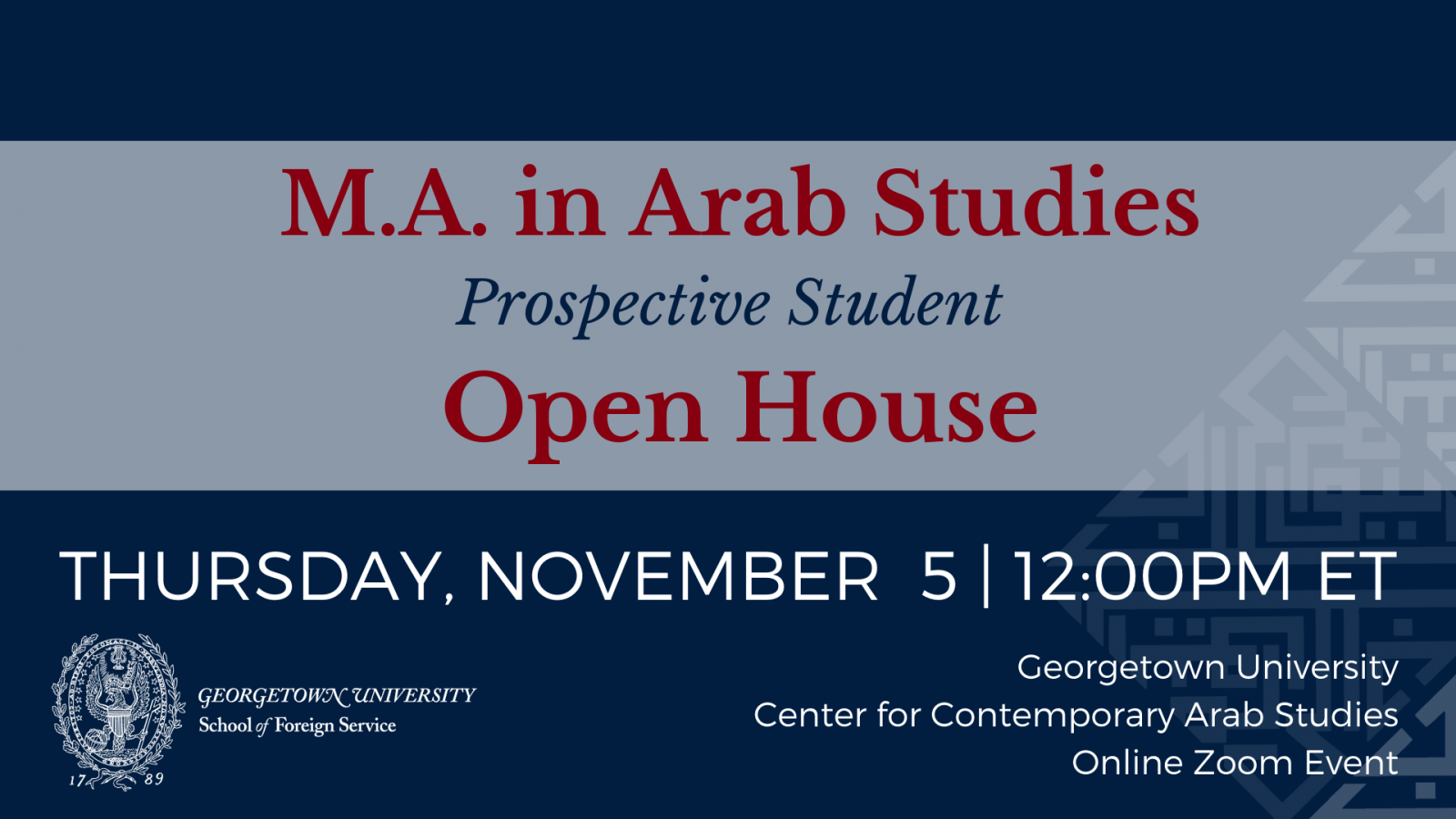 Banner for the MAAS Open House, Thursday, Nov. 5 at noon EST via Zoom