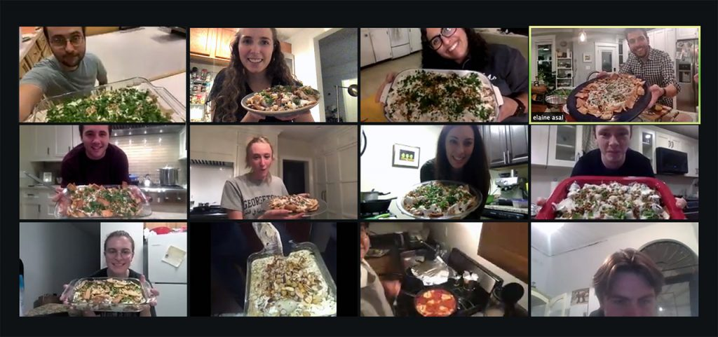 students show the dishes they made in a zoom cooking class