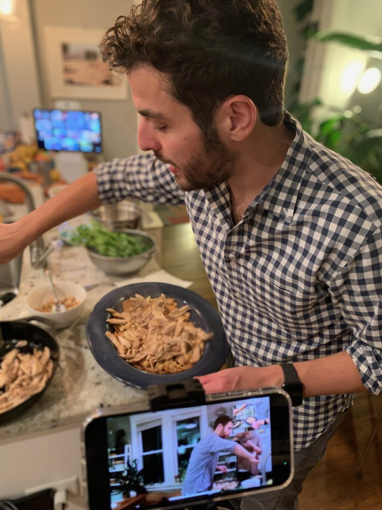 Antonio Tahan leads a Zoom cooking class