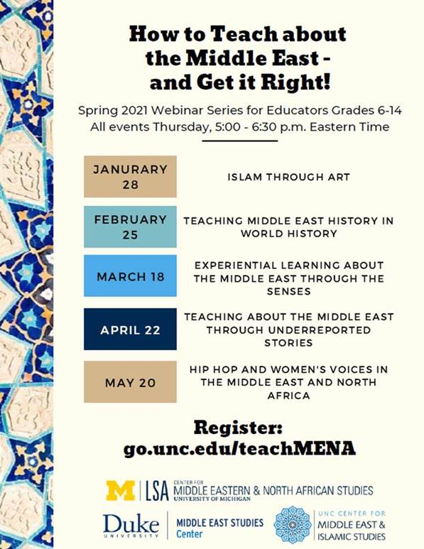 List of events from the series how to teach about the Middle East and Get it Right