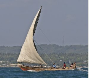 image of a sailboat with three people aboard