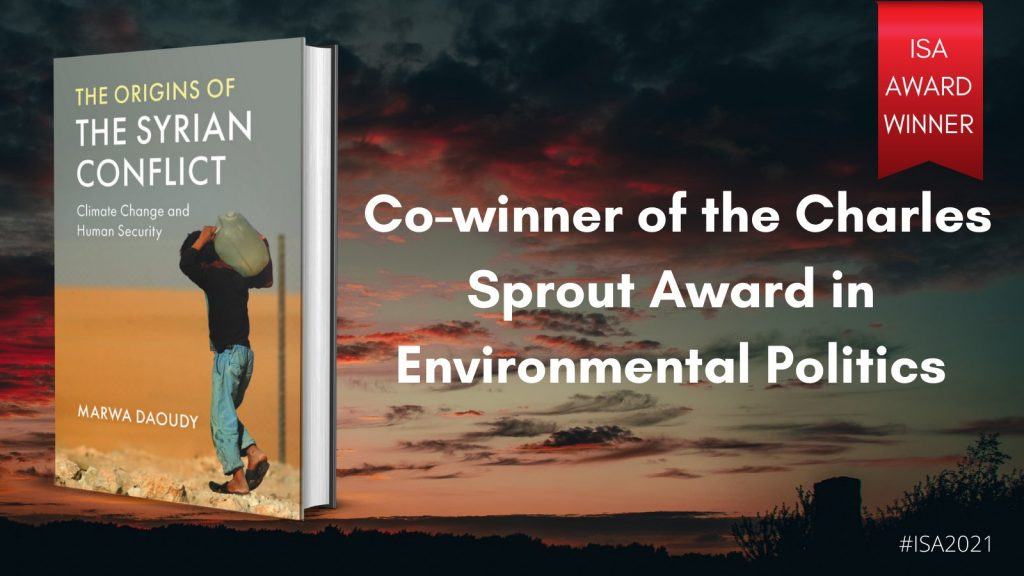 Background of a sunset overlaid by an image of the book Origins of the Syrian Conflict and text that says Co-winner of the Sprout Award in Environmental Politics