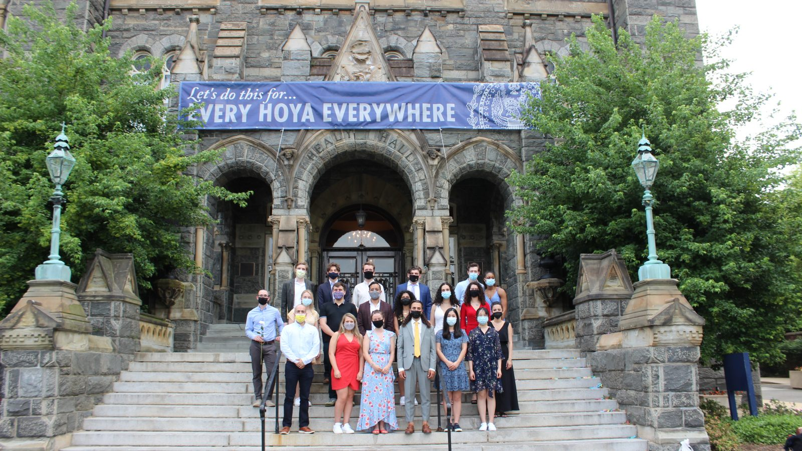 MAAS students gather on steps of Healy Hall