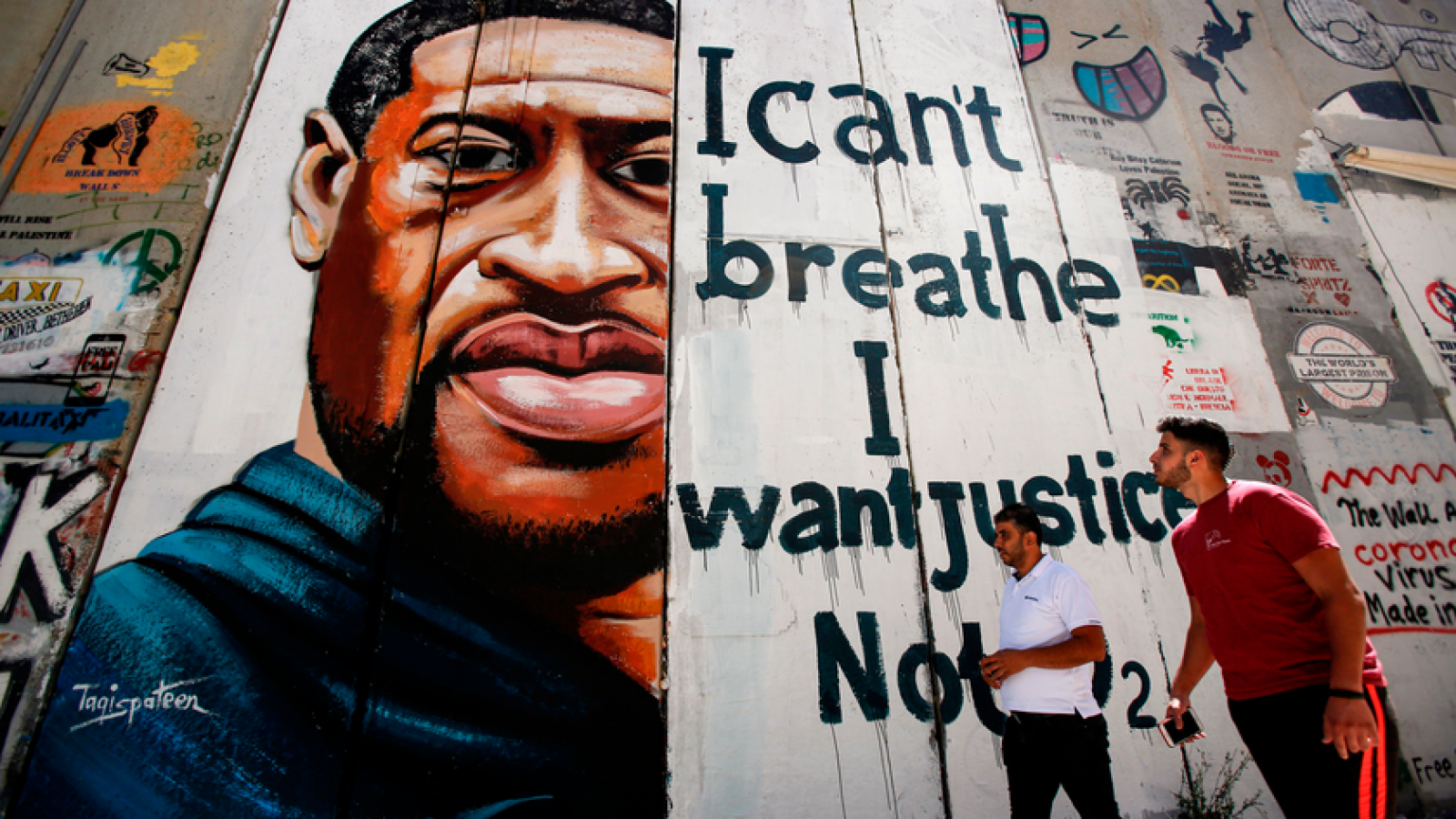 A mural of George Floyd on the separation wall of the West Bank
